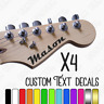 Custom guitar name stickers 4x personalised name decal. Electric/Acoustic decals