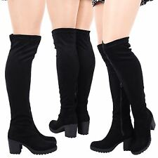 WOMENS BOOTS LADIES PLATFORMS CHUNKY OVER KNEE PARTY MID HEEL SHOES SIZE NEW
