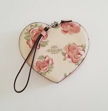 Coach Heart Wristlet with Jumbo Floral Print Pink Wallet