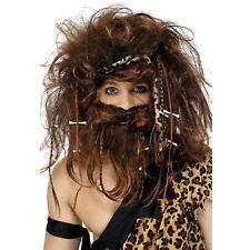 Adult Mens Wild Caveman Prehistoric Dino Stone Age Wig Beard Fancy Dress Kit Set
