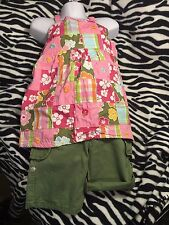 Gymboree Floral Reef Embroidered Patchwork Shirt 6 And Khaki Green Shorts 5 5/6