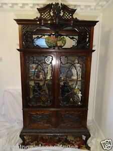 Large Vintage Fine Carved Antique Chippendale Style Display Cabinet In Mahogany