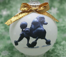 D084 Hand-made Christmas Ornament dog - Poodle - black show cut walking