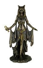 Bronze Finish Egyptian Goddess Bastet With Sacred Cat Statue