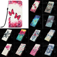 3D Pattern Leather Card Wallet Stand Case Cover For Huawei P30 Mate 20 Pro Y9