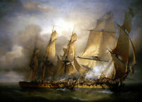 """high quality 36x24 oil painting handpainted on canvas"""" Naval battle """"@NO4354"""