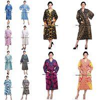 Women Cotton Kimono Indian Casual Bathrobe Mandala Printed Dressing Gown Robe