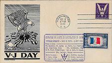 "FDC USA ""VJ DAY - Capitulation Japon / Aigle noir terrassant Japon / WWII"" 1945"