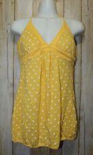 Womens Yellow White Polka Dot Self Esteem Halter Top Shirt Size Large NWT NEW