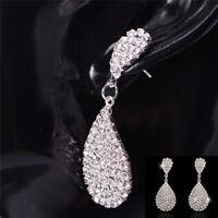 1Pair Crystal Dangle Drop Earrings Rhinestone Stud Earrings Lady Jewelry Luxury*