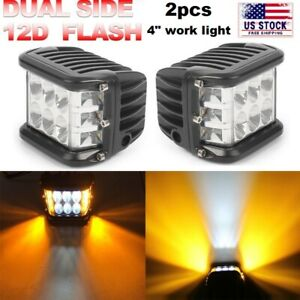 2x 4 Inch Work Cube Side Shooter LED Light Bar Pod White & Amber Strobe Lamp SUV