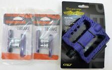 2 Sets Mongoose Purple Brake Pads & A Pair of GT Universal Nylon BMX Bike Pedals