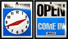 NEW Open Come In / Will Return / Store Business Clock Hands Sign With Chain