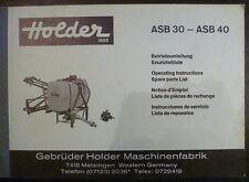 Holder ASB30 + ASB40 Anbauspritze Anleitung + ET-Liste