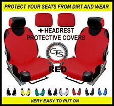 RED 2x CAR FRONT SEAT COVER PROTECTOR FIAT 500 IDEA BRAVA