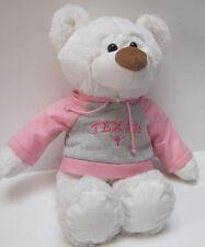 White Stuffed Bear with Pink & Gray UT University of Texas Sweatshirt
