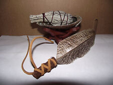 SAGE SMUDGING TRAVEL KIT SAGE SHELL STAND AND FEATHER SMUDGING