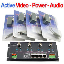 4 Channel Active Video Power Audio Balun BNC to Cat5 /6 UTP for CCTV Camera DVR
