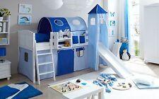 Lit mezzanine avec toboggan et tour EKKI Pin massif teinté blanc tissus Bleu cie
