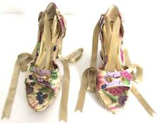 Nina Women's Open Toe Floral Lace Up Wedge Heels Size 7.5