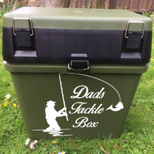 PERSONALISED FISHING TACKLE BOX GIFT FOR DAD BLACK SEAT BOX WITH STICKER DECAL