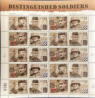 SCOTT #3393-96  SOUVENIR SHEET DISTINGUISHED  SOLDIERS  33 CENT  MNH