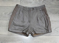 """Brown Leather EPISODE High Waist Front Pleats Hot Pants Shorts Size W32"""" L2"""""""