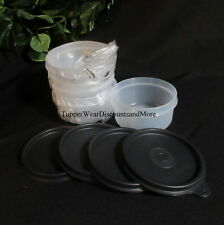 Tupperware NEW Set of 4 Snack Cups Serving Bowls Storage Containers Black Seals
