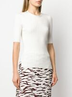 NEW VERONICA BEARD Dillon Ribbed Top in White - size L #T1186
