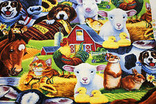 Fabric Farm Animals lamb rabbit horse dog pig cow Cotton FQ Quilting Material