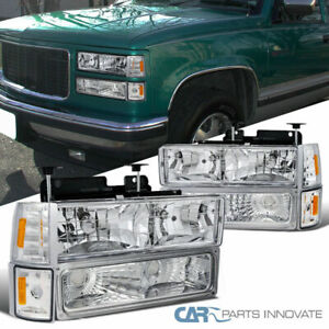 For 94-98 C10 C/K 1500 2500 3500 Suburban Yukon Clear Headlights+Bumper Corner