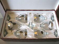 VINTAGE - 6 CRISTALLERIA F.LLI FUMO WINE GLASSES - 24% CRYSTAL - HANDMADE ITALY