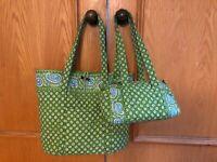 SET VERA BRADLEY Apple Green PAISLEY blue X-LARGE floral TOTE BAG PURSE NWT 🔥🔥