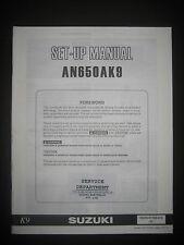 SUZUKI AN650AK9 Set Up Manual AN 650 AK9 Set-Up 99505-01169-01E Motorcycle