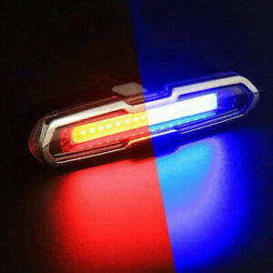 COB LED  Bike Tail Light,6 Mode USB Rechargeable Bicycle Police EMS Taillight