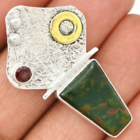 Blood Stone 925 Sterling Silver Pendant Jewelry BDSP760