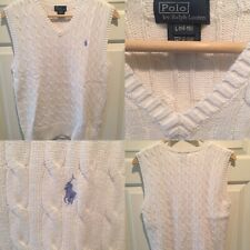 🏇Polo Ralph Lauren Cable Knit Sweater Vest Big Kids Size Large (14/16) White