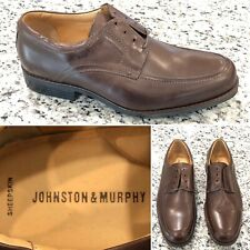 NEW JOHNSTON &MURPHY Mens Sz 9.5M Brown Leather Shoes Sheep Skin Insoles 20-7430