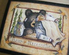 "9x11"" Rustic Country Bear Necessities Primtive Bath Bathroom Wall Art Decor Sign"