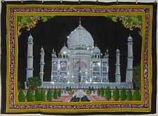 * Indian Taj Mahal Sequinned Wall Hanging * Fair Trade * Large * Black (BB)
