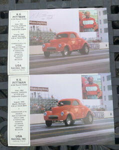 Vintage 80's KS Pittman Autograph Willys Gasser NHRA Drag Racing Photo Handout