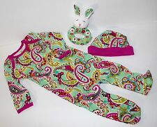 Vera Bradley Layette Baby Infant Tutti Fruitti Sleeper Outfit Hat Rattle 3-6 mos