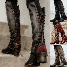 Women Winter Straps Motorcycle Biker Boots Block High Heel Boot Boho Shoes Size