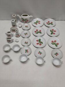 Vtg Frenzy Toys Miniature Childrens Porcelain Pink Strawberry Tea Set 27 pcs