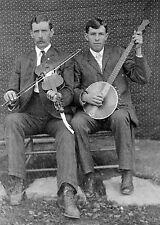 "Banjo, fiddle, violin, old time Music photo, 1903, antique decor, 16""x11"""