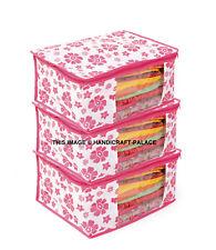 Non Woven Saree Cover/Cloth Bag/Wardrobe Organizer Set Of 100 Pcs Pink Flower