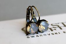 Antique Brass Plated Light Grey Opal Earrings with Swarovski Crystal Element