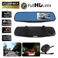 1080P Car Rearview DVR Dual Dash Cam Camera Vehicle Front Rear HD Video Recorder