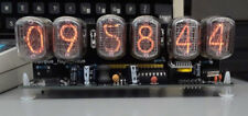 nixie clock six digits black pcb with 12/24 hr disp RTC and PSU. Assembled.