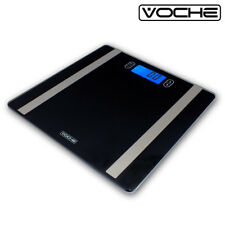 VOCHE® GLASS ELECTRONIC LCD DIGITAL BODY ANALYSER BMI BLACK BATHROOM SCALES
